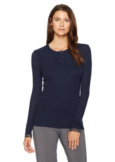 HANRO Women's Woolen Lace Long Sleeve Henley Shirt