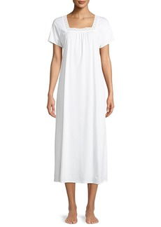 Hanro Hazel Lace-Trim Long Short-Sleeve Nightgown
