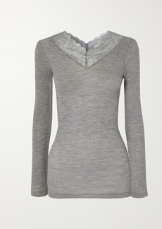 Hanro Karla Lace-trimmed Wool And Silk-blend Top