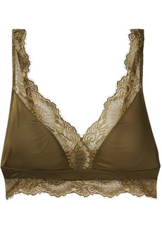 Hanro Laila Lace-trimmed Stretch-satin Soft-cup Triangle Bra