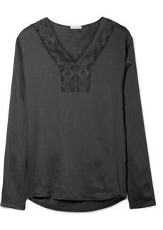 Hanro Liane Lace-trimmed Gauze Pajama Top