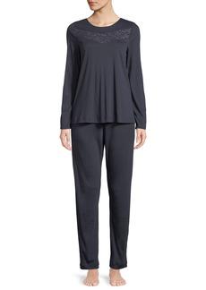 Hanro Liv Long Lace-Yoke Pajama Set