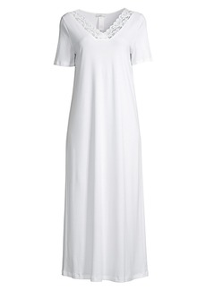 Hanro Moments Short-Sleeve Long Gown