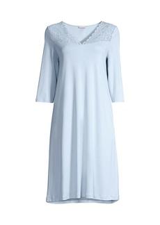 Hanro Moments Three-Quarter Lace Yoke Night Gown