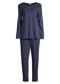 Hanro Najuma 2-Piece Lace-Trimmed Mercerized Cotton Pajama Set