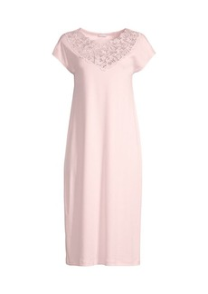 Hanro Najuma Lace-Trimmed Mercerized Cotton Gown