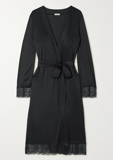 Hanro Wanda Lace-trimmed Modal And Silk-blend Robe
