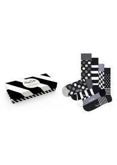 Happy Socks Assorted 4-Pack Black & White Socks