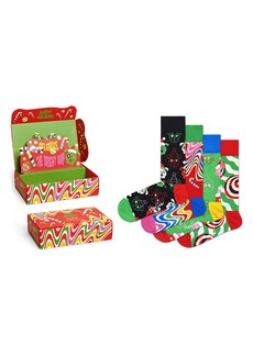 Happy Socks Assorted 4-Pack Psychedelic Candy Cane Socks