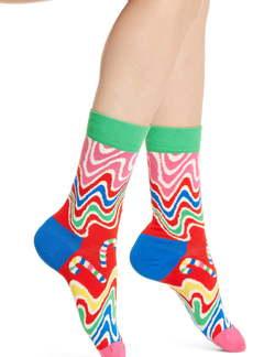 Happy Socks Psychedelic Candy Cane Crew Socks
