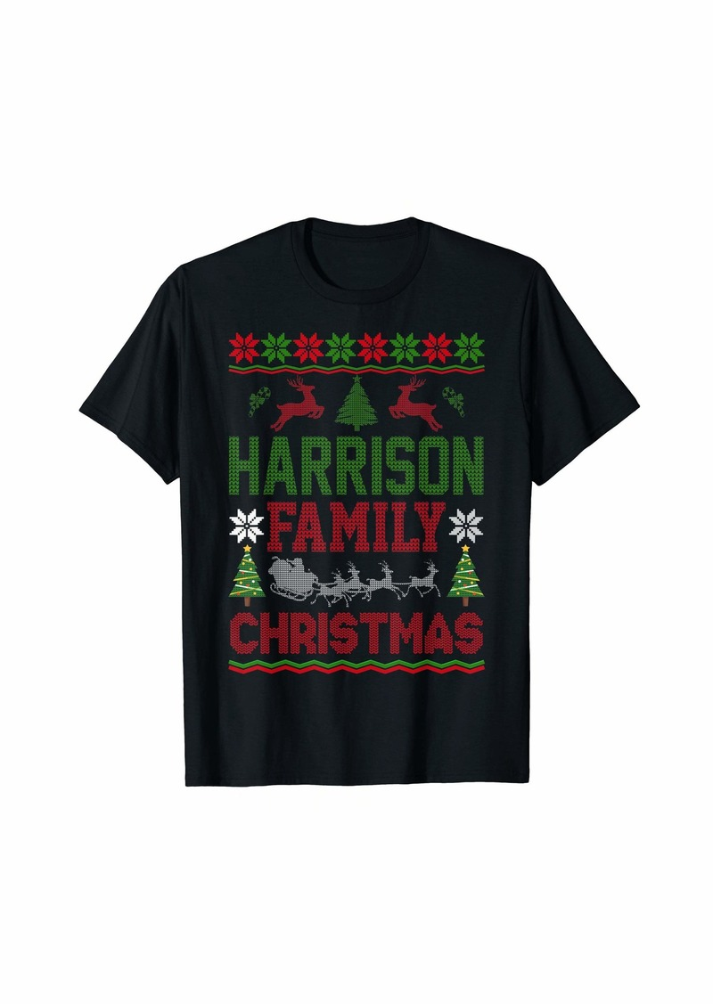 Harrison Family Ugly Christmas Sweater Gift Surname Lastname T-Shirt