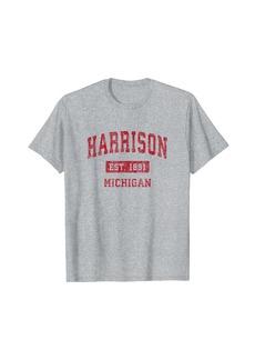 Harrison Michigan MI Vintage Sports Design Red Design T-Shirt
