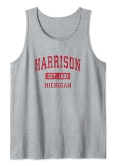 Harrison Michigan MI Vintage Sports Design Red Design Tank Top