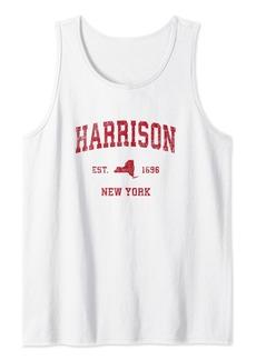 Harrison New York NY Vintage Sports Design Red Print Tank Top