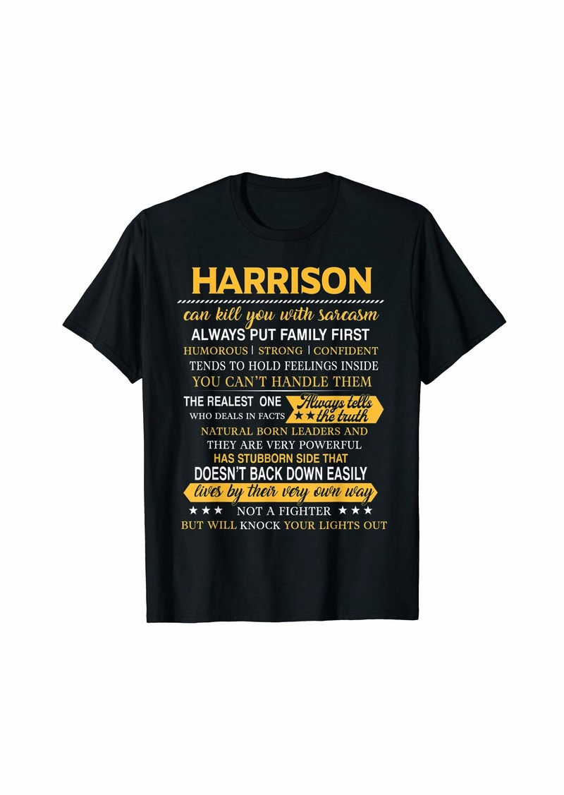 Mens HARRISON Always Put Family First Men Name Tee T-Shirt