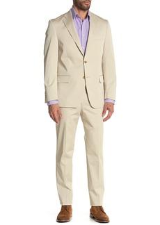 Hart Schaffner Marx Beige Plain Two Button Notch Lapel New York Fit Suit
