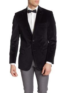 Hart Schaffner Marx Black Textured Velvet Two Button Notch Lapel Sport Coat