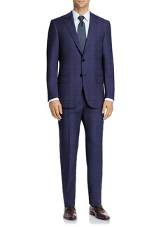 Hart Schaffner Marx Blue Check Two Button Notch Lapel New York Fit Suit
