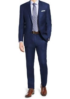 Hart Schaffner Marx Blue Sharkskin Two Button Notch Lapel New York Fit Suit