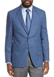Hart Schaffner Marx Medium Blue Plaid Two Button Notch Lapel Classic Fit Wool Sport Coat