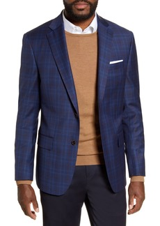 Hart Schaffner Marx Dark Blue Plaid Two Button Notch Lapel New York Fit Sport Coat