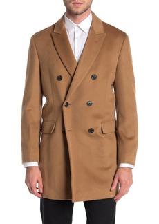 Hart Schaffner Marx Dublin Peak Lapel Double Breasted Wool Blend Coat