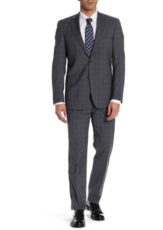 Hart Schaffner Marx Grey Blue Plaid Two Button Notch Lapel New York Fit Suit
