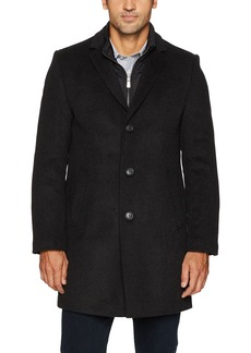 Hart Schaffner Marx Men's Kingman Herringbone Wool-Blend Coat with Detachable Bib  42L