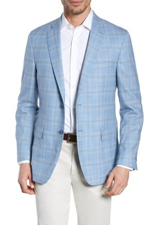 Hart Schaffner Marx Light Blue Plaid Two Button Notch Lapel New York Classic Fit Wool Sport Coat