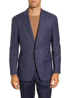 Hart Schaffner Marx Medium Blue Check Two Button Notch Lapel New York Fit Sport Coat