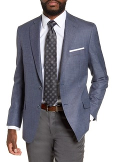 Hart Schaffner Marx Medium Blue Sharkskin Two Button Notch Lapel New York Fit Sport Coat