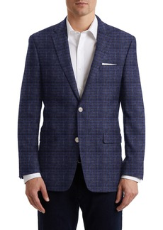 Hart Schaffner Marx Medium Blue Windowpane Two Button Notch Lapel New York Fit Sports Coat