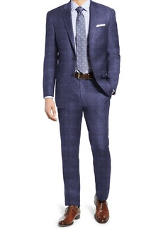 Hart Schaffner Marx Navy Check Two Button Notch Lapel New York Fit Suit