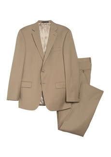 Hart Schaffner Marx Tan Solid Two Button Notch Lapel New York Fit Suit