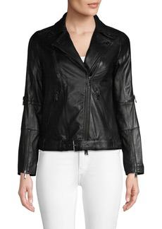 Haute Hippie Belted Leather Moto Jacket