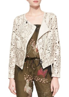 Haute Hippie Floral Laser-Cut Leather Jacket