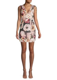 Haute Hippie Floral-Print Shift Mini Dress