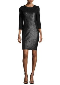 Haute Hippie 3/4-Sleeve Embellished Dress