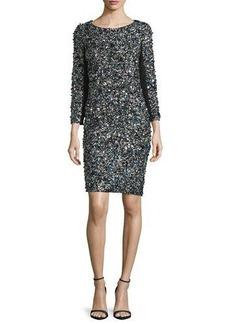 Haute Hippie 3/4-Sleeve Mosaic Sequin Dress