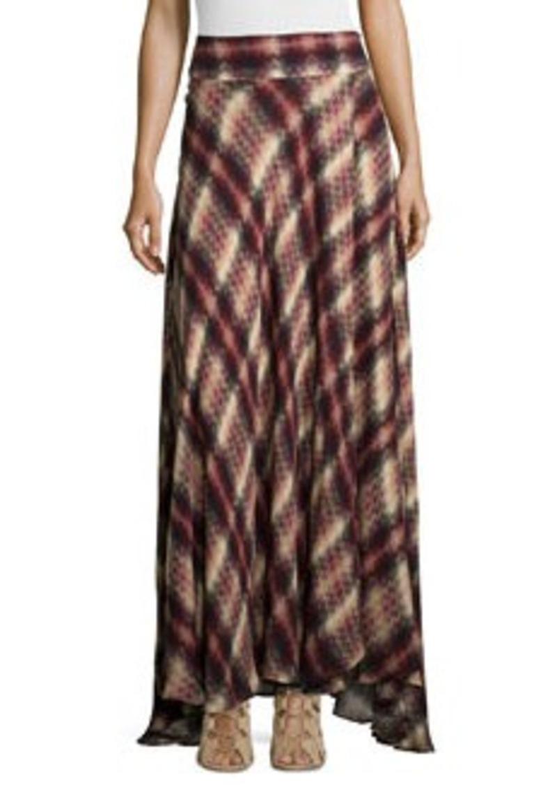 Haute Hippie Chevron Plaid Print Silk Maxi Skirt