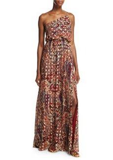Haute Hippie Silk One-Shoulder Paisley Column Gown