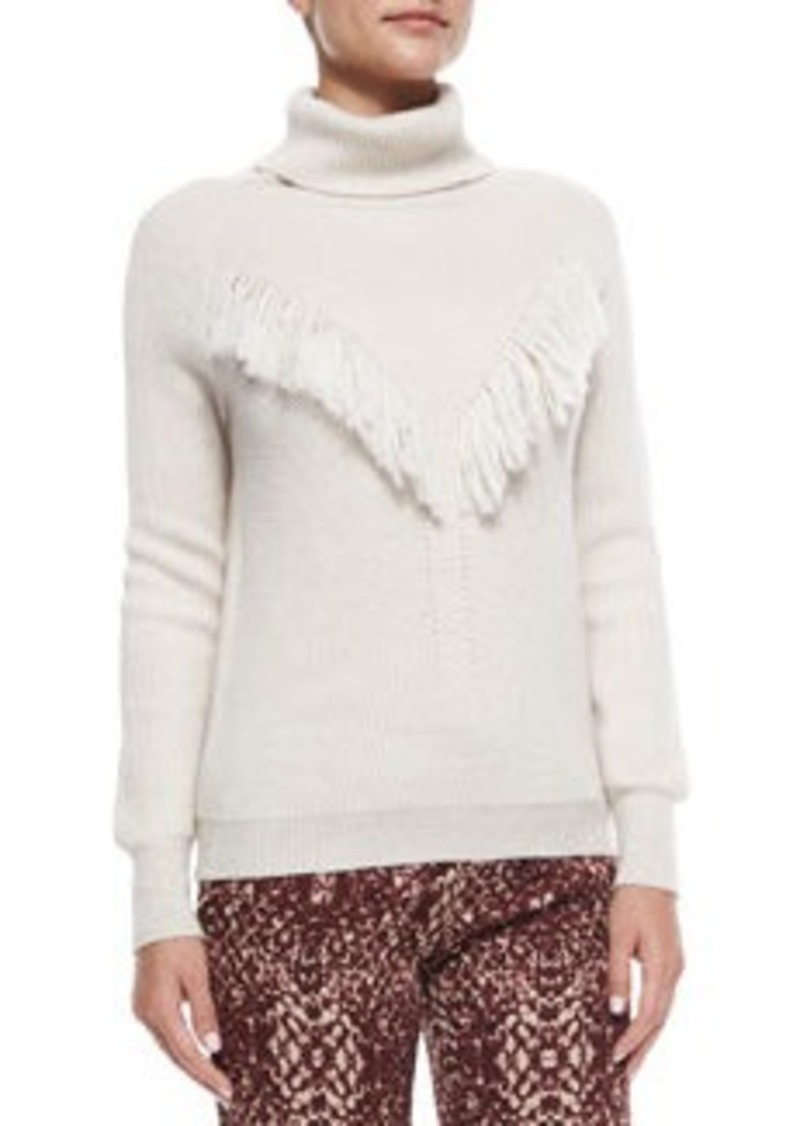 Haute Hippie Long-Sleeve Fringe-Detail Sweater