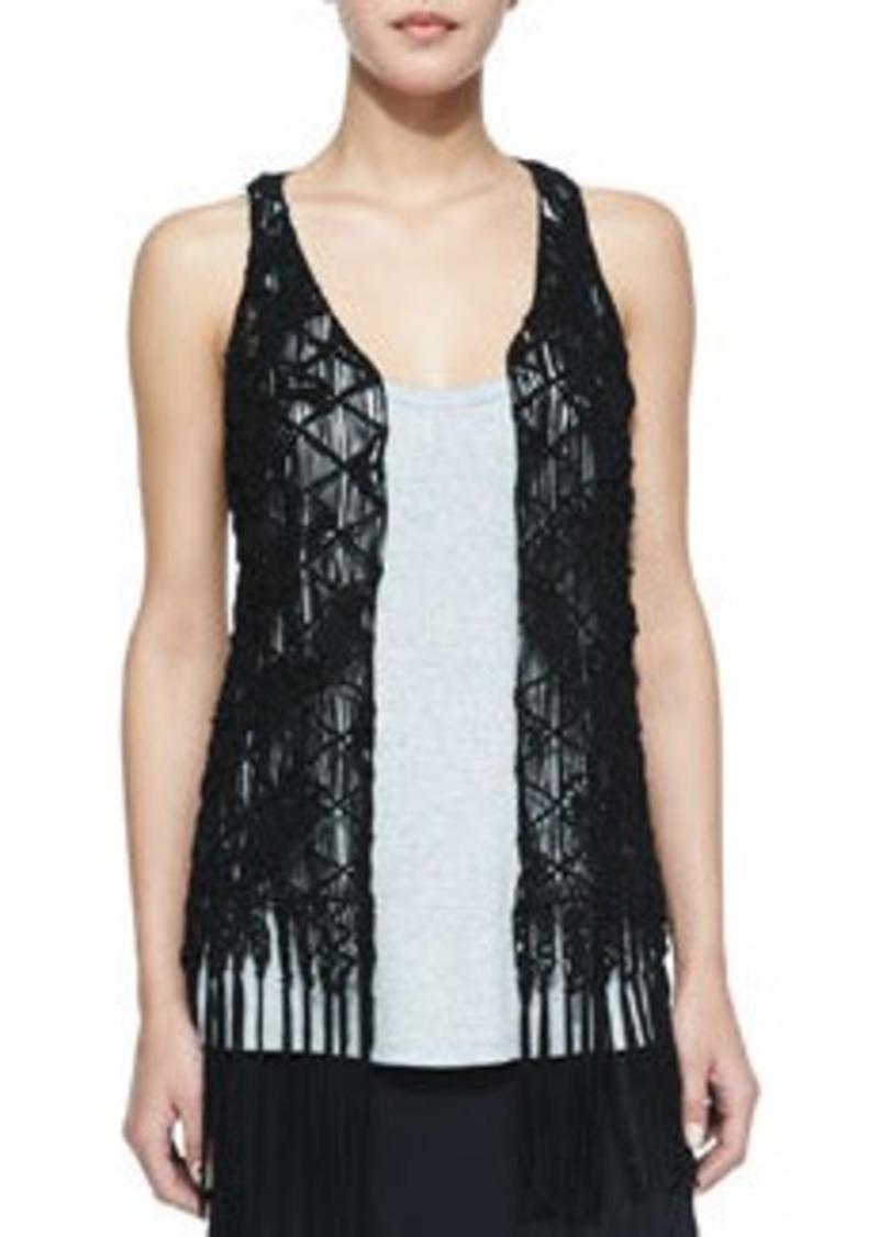 Haute Hippie Suede Crochet Vest W/ Fringe