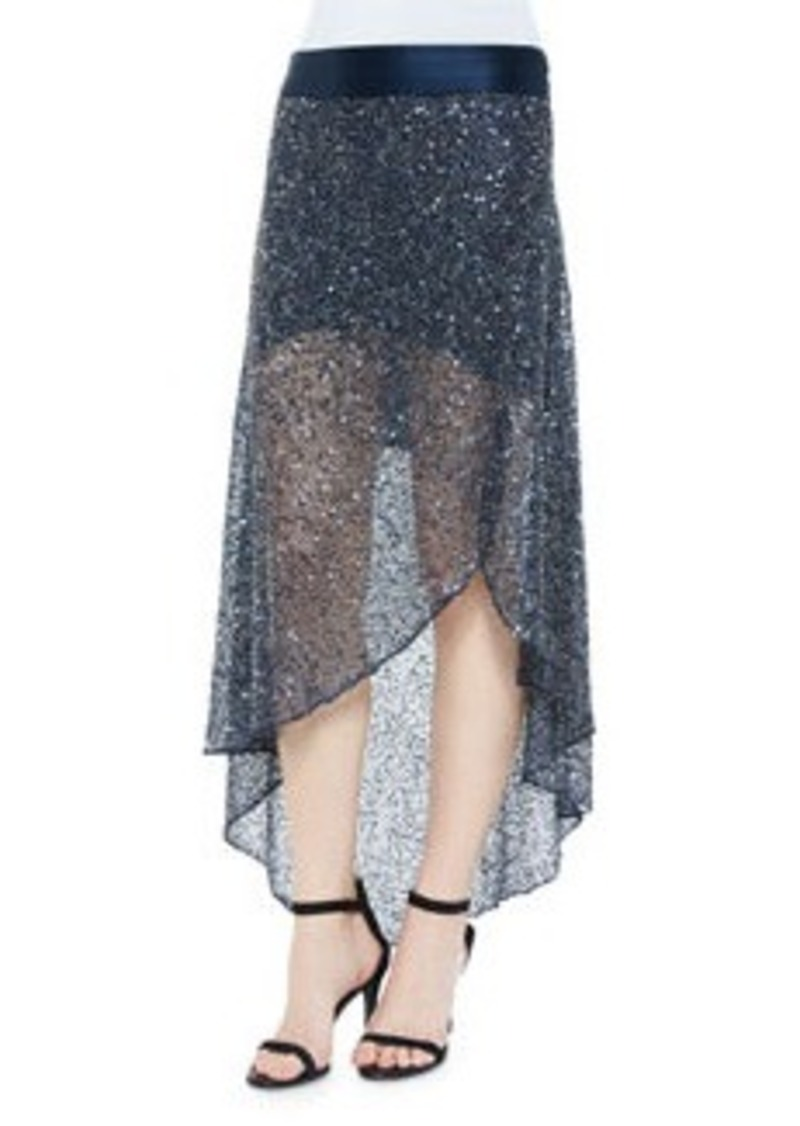 Haute Hippie Sequin-Embellished Mesh Skirt