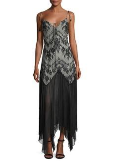 Haute Hippie Alicia Sleeveless Lace Handkerchief Evening Dress