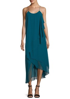 Haute Hippie Asymmetric-Layers Sleeveless Chiffon Midi Cocktail Dress
