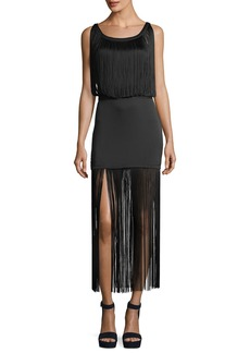 Haute Hippie Backstage Sleeveless Fringe Silk Cocktail Dress
