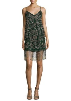 Haute Hippie Bead Embroidered Rose Tank Dress