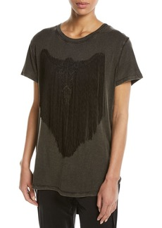 Haute Hippie Beaded Longhorn Fringe High-Low Tee