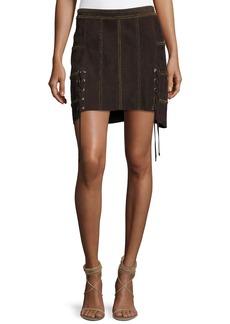 Haute Hippie Beaded Suede Mini Skirt